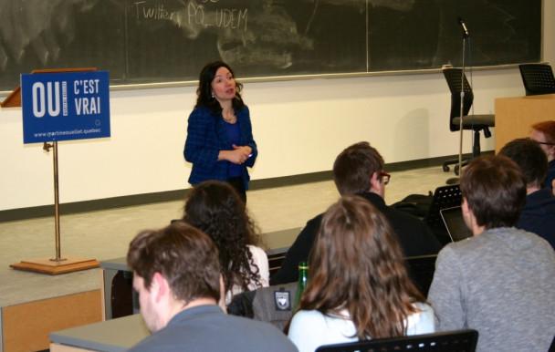 Martine Ouellet à l'UdeM: la gratuité scolaire et l'indépendance