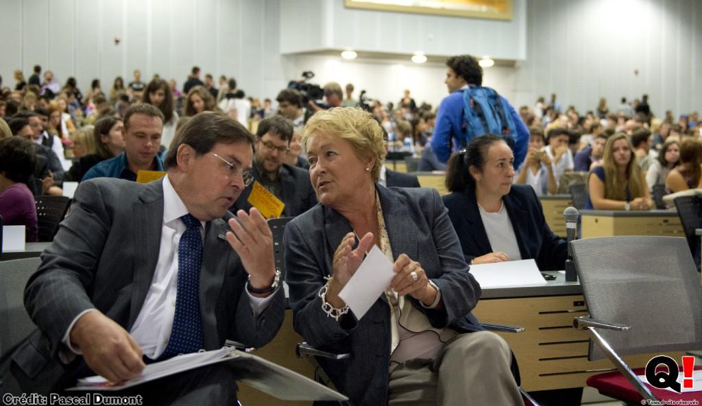 Pauline Marois et Guy Breton dans une salle du pavillon 3200 Jean Brillant. (crédit photo: Pascal Dumont)