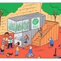 La ferme est située place Shamrock, près du marché Jean-Talon. Illustration: Cathon.