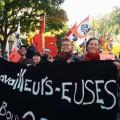 Des membres du SÉSUM étaient présents à la manifestation pour un salaire minimum à 15$ de l'heure au Québec, tenu au Parc Le Prévost à Montréal, le 15 octobre dernier. Photo : Courtoisie SÉSUM