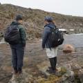Les deux étudiants en géographie Gabriel Chiasson-Poirier et Louis-Gabriel Pouliot vérifient l'état de leurs instruments mesurant le débit de la rivière en crue. Crédit photo : Miriane Demers-Lemay.