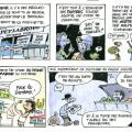 Légende : La bande dessinée Dumpster driving réalisée par Jacques Goldstyn a remporté le concours de la FAECUM.   Crédit : Courtoisie Jacques Goldstyn