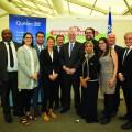 Le premier ministre Philippe Couillard lors de la COP22 en compagnie de la délégation du Québec. Crédit photo : Courtoisie Patrick Lachance MCE.