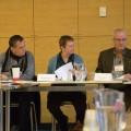 Le secrétaire général de l'AGEEFEP, Michel Gervais, la vice-présidente, Muriel Di Battista et le président, Denis Sylvain, lors de l'assemblée générale du 19 novembre 2016. Crédit photo: Mathieu Gauvin.