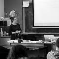 L'étudiante Mélissa Bureau Capuano lors d'une conférence avec les étudiants surdoués. Crédit photo : Marie Isabelle Rochon.