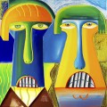 The monumentales, peinture à l'huile et bâtons, couleurs de vinyle sur toile, 2017. Crédit photo : Courtoisie Anne Hémond Hotte.