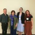 Les conférenciers invités Mustafa Ozbilgin et Kate Hooper en compagnie de la professeure Marie-Thérèse Chicha et de l'auxiliaire de recherche Pascale Lauzon. (Photo: Félix Lacerte-Gauthier)