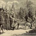 Représentation de 1876 de l'arrivée de Jacques Cartier au village d'Hochelaga. (Crédits: Wikimedia Commons | Internet Archive Book Image)