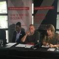 La ministre de l'Enseignement supérieure, Hélène David (à droite) lors de la conférence de presse présentant le lancement officiel du projet « Commande un Angelot » qui cherche à prévenir les violences sexuelles dans les bars. (Photo: Thomas Martin)