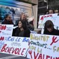 Des étudiants manifestent pour la rémunération des stages universitaires.(crédit photo : Courtoisie CUTE)