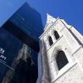 Le clocher de l'ancienne église Saint-Sauveur a été intégré dans l'architecture du nouveau CHUM. C'est à cet endroit que se trouvera La résonnance des corps, une installation sonore réalisée par Catherine Béchard et Sabin Hudon. (Photo : Michaële Perron-Langlais)