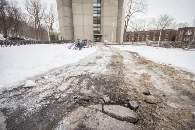 « Il n'y en a pas beaucoup d'espace pour garer les vélos sur le campus et ils ne sont pas protégés, déplore-t-il. On pourrait avoir des espaces avec des auvents qui les protègent. » Le professeur trouve également dommage l'absence de pistes cyclables sur tout le campus. (Photos : Benjamin Parinaud)