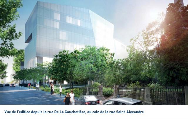 Vue du futur édifice depuis l'intersection des rues de la Gauchetière et Saint-Alexandre. (Photo: Courtoisie HEC Montréal)