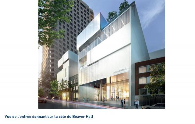 L'entrée du futur pavillon situé sur la côte de Beaver Hall. (Photo: Courtoisie HEC Montréal)