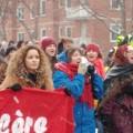 Des manifestants provenant de programmes variés, tels que danse, psychologie et pratique sage-femme, se sont retrouvés è Montréal le 8 mars. (Photo: Mylène Gagnon)