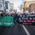 Une manifestation organisée par les Comités unitaires sur le travail étudiant (CUTE), en novembre dernier. Il y avait alors 55 000 étudiants en grève au Québec. Cette semaine, ils sont 35 000. Crédit photo : Benjamin Parinaud.