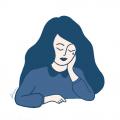 L'oeuvre de Dina Husseini s'intitule Ce n'est pas grave d'être triste.