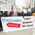 Pour le lancement de la campagne, une cinquantaine d'étudiants se sont rassemblés devant les bureaux du ministère de l'Éducation à Montréal. Crédit photo : Louis-Xavier Picard / Voltaic Photographie
