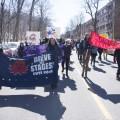 La manifestation sur le boulevard Édouard-Montpetit (Crédit Romeo Mocafico).