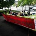 Les militants ont campé devant l'hôtel du premier ministre la fin de semaine dernière. (Crédit photo : Edouard Ampuy)