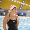 Ariane Mainville interprète le rôle d'une nageuse professionnelle dans le film Nadia, Butterfly. Crédit : Jacob Côté