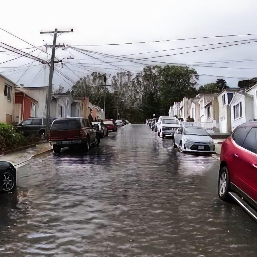 La première photo montre l'état d'un quartier à l'heure actuelle, la deuxième représente les effets anticipés des changements climatiques. Photo courtoisie : l'Institut québécois d'intelligence artificielle (Mila)