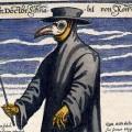 Le docteur à bec de Rome, de l'artiste allemand Paul Fürst. De tels masques étaient portés par les médecins - et plus d'un charlatan - de l'époque afin d'éviter la contagion de la peste, ce qui ne fonctionnait bien évidemment pas. Source : Wikipedia