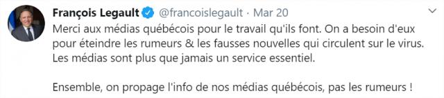 Le premier ministre François Legault a souligné dans son point de presse quotidien du vendredi 20 mars le rôle essentiel des médias. Une reconnaissance que salue la FPJQ.